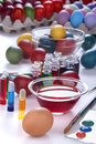 Painting eggs for easter traditional and coloring to celebrate Royalty Free Stock Photos