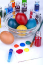 Painting eggs for easter traditional and coloring to celebrate Stock Image