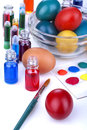 Painting eggs for easter traditional and coloring to celebrate Royalty Free Stock Photo