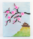 Painting with fabric and garments chinese motif on canvas Royalty Free Stock Photo