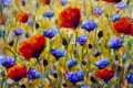 Painting flower modern colorful wild flowers canvas abstract close paint impasto oil