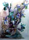 Watercolor art background colorful flowers bouquet garden Royalty Free Stock Photo