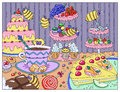 Painting with funny bees in sweetshop Royalty Free Stock Photo