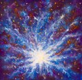 Painting Galaxy In Space, Blue...