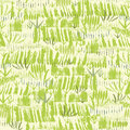 Painting of green grass seamless pattern vector background with hand drawn elements Stock Photography