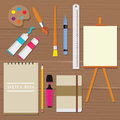 Painting icon vector object palette paint tools equipment art brush canvas sketch book oil tube ruler pencil Royalty Free Stock Photo