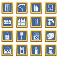 Painting icons set blue