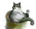 Painting Illustration Of Fat Cat