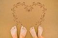 Painting Love Heart On Beach