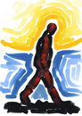 Painting of man walking Royalty Free Stock Photography