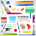 Painting and paint splats elements Royalty Free Stock Photo