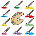 stock image of  Painting palette and brush - icon set