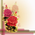 Painting red pink color of roses flowers.