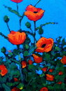 Painting of Red Poppies, Impressionism Stock Images
