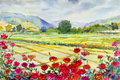 Painting roses cornfield and mountain of emotion in sky cloud background