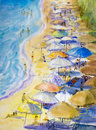 Painting seascape colorful of couple family vacation and tourism.