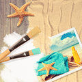 Painting summer postcard a on sandy decking with starfish Stock Images