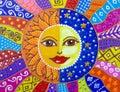 Painting, Sun And Moon. Beauti...