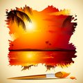 Painting of Sunset View Royalty Free Stock Images