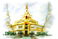 Painting of thai pagoda water color north east thailand gold design Stock Image