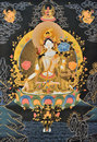 Painting of tibet traditional religion culture artwork as named tangka with buddha and symbol Royalty Free Stock Images