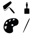 Painting tools vector silhouette Royalty Free Stock Photo