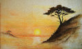 Painting on wall painting sunset sea and tree wallpaper on wall landscape Royalty Free Stock Image