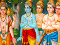 The painting on wall at Sri Mariamman Temple, The Hindu In Singapore Royalty Free Stock Photo