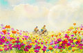 Painting watercolor of daisy flowers,and girls, man,cycling.
