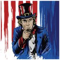 Uncle Sam Drawn Character with America Flag