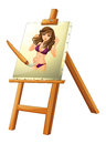 A painting of a woman illustration on white background Royalty Free Stock Images