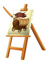 A painting of a wooden carriage illustration on white background Royalty Free Stock Photo