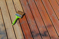 Painting wooden patio deck with protective oil brown Stock Photography