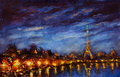 Painting Yellow lights of Eiffel Tower reflected in Seine river in blue night Royalty Free Stock Photo