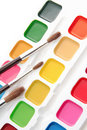 Paints and brushes Stock Photography