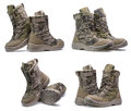 Pair of army boots.Collage Royalty Free Stock Photo