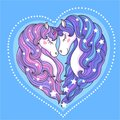 A pair of beautiful unicorns with a long mane against a blue background. Vector