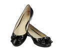 Pair of black flat shoes Royalty Free Stock Photo