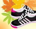 Pair of black sneakers on the autumn background Stock Images