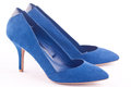 A pair of blue high heel shoes Stock Photo
