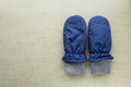 Pair of blue mittens Royalty Free Stock Photo