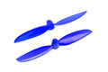 Pair of blue propellers for radio controlled model aircraft Royalty Free Stock Photography