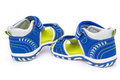 Pair of blue sandals for kid on white background Royalty Free Stock Photo