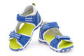 Pair of blue sandals for kid on white background front view Royalty Free Stock Images