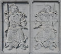 A pair of brick carving door god the ancient chinese think the can protect them from evil and unfortune is chinese decoration Stock Photography