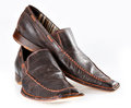 Pair of brown male mocassins on the white background Royalty Free Stock Photo