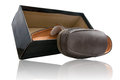 Pair of brown male shoes in front sale box on white Stock Photo