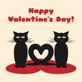 A pair of cats with their tails in the form of heart. Text Happy Valentine`s Day!