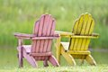 A pair of chairs on grass Royalty Free Stock Photos
