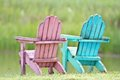 A pair of chairs on grass Royalty Free Stock Image